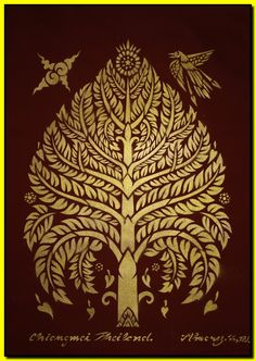 Thai traditional stencil art of bodhi tree by spray paint on the stencil on cotton. ฿300.00, via Etsy.