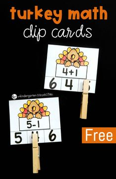 These free turkey math clip cards are so fun for Kindergarten and early grade students who are working on beginning addition and subtraction facts! It is the perfect activity to add to your November centers! Subtraction Kindergarten, Kindergarten Math Games, Kindergarten Freebies, First Grade Activities, 1st Grade Math, Fun Math, Math Activities, Math Work, Math Math