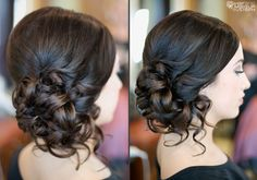 Low curly side updo