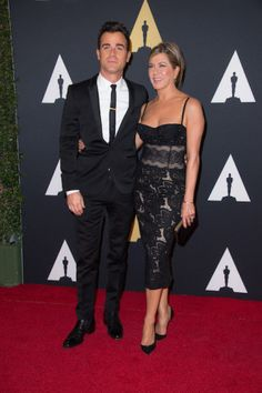 Justin Theroux (left) and Jennifer Aniston attend the 6th Annual Governors Awards in The Ray Dolby Ballroom at Hollywood & Highland Center® in Hollywood, CA, on Saturday, November 8, 2014.  See more photos here: http://www.redcarpetreporttv.com/2014/11/10/its-official-awards-season-has-started-the-academys-2014-governors-awards-honors-harry-belafonte-maureen-ohara-hayao-miyazaki-and-jean-claude-carriere-theacademy-governorsawards-photos/