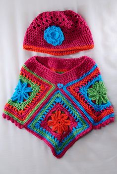 Inspiration ~ baby poncho made with granny squares