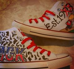 MGK Lace Up high top Converse walk a mile in my Chuck's the road sucks better lace up