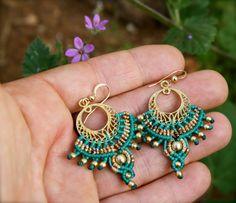 pendiente de macrame pendientes tribales turquesa pendientes