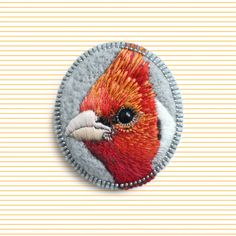 Bird brooch - needle felted and embroidered