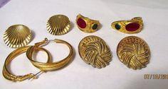 Vintage Jewelry lot all wearable Gold Tone enamel Earrings 4 pc'