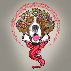the iconic St. Bernard dog from Beethoven film.  available in tee & nice accessories for sell:   available in my store : http://www.zazzle.com/dewedhe*  Tags: dogs, dog, illustration, pet, pets, Saint Bernard, St. Bernard