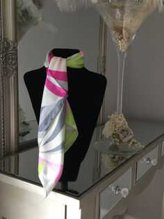 Green Pink Grey Print Scarf stunning silk scarf is perfect to tie around your neck in numerous ways