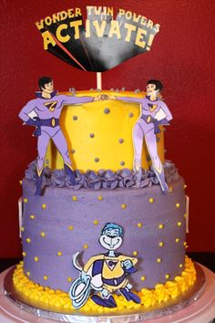 Wonder Twin birthday! Twin Birthday Parties, 3rd Birthday, Birthday Party Themes, Wonder Twins, Twins Cake, Cake Board, Superhero Party, Beautiful Cakes, Just In Case