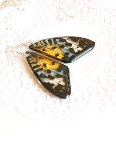 Yellow butterfly wing earrings Transparent jewelry Resin earrings Boho jewelry for women butterfly gift for her daughter in law gift for me