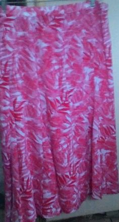 SKIRT LAURA SCOTT XL NEW TAGS RED & WHITE FLORAL CREPON FLAIR STYLE VACATION  #LauraScott #FlareSkirt