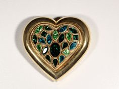 Vintage YSL Gold Tone Heart Powder Compact Faceted by ThisisParis, $90.00