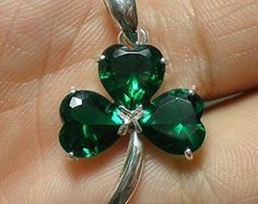 Irish Green Silver Shamrock Necklace - Three Leaf Clover Necklace - Christmas, Thanksgiving, New Year Gift