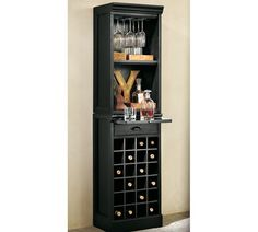 modular bar with wine grid tower @ pottery barn. love the small footprint + lots of wine storage $469