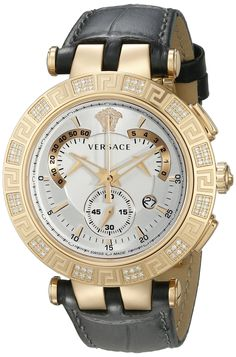 Versace Men's 23C82D002 S009 V-RACE CHRONO Diamond-Accented Rose Gold Ion-Plated Watch. Rose gold ion-plated watch with Medusa logo at 12 o'clock featuring trio of subdials and black croco-embossed leather band with deployant buckle. 42 mm stainless steel case with antireflective-sapphire dial window. Swiss quartz movement with analog display. Includes two interchangeable top rings: One with Greek key engravings and 72 white diamonds (ct. 0.37) or one with Versace logo engravings and 3…