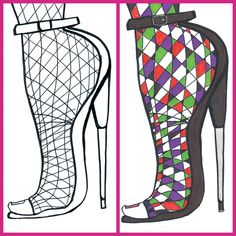 New York Fashion, Fashion Art, Adult Coloring, Coloring Books, Live Events, Custom Art, Colorful Fashion, Rubber Rain Boots, Shoes Heels