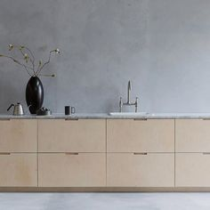 Ply kitchen with marble top