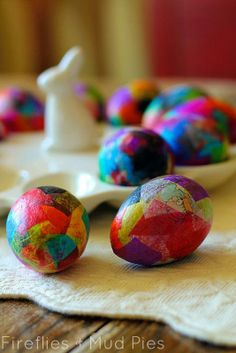 Try out this papier-mâché Easter eggs craft.