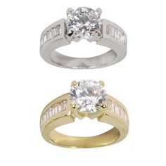 Nexte Jewelry Goldtone or Silvertone Cubic Zirconia Round Solitaire Ring (Silvertone Size 9), Women's, White