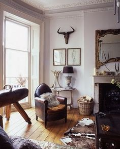 Masculine accents for the living room