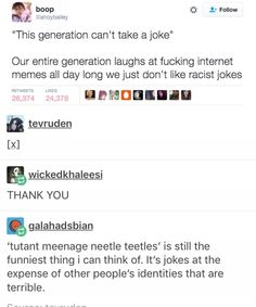 "Best response to a secist/racist /homophobic 'joke' is ""I dont get it, can you expkain it"""