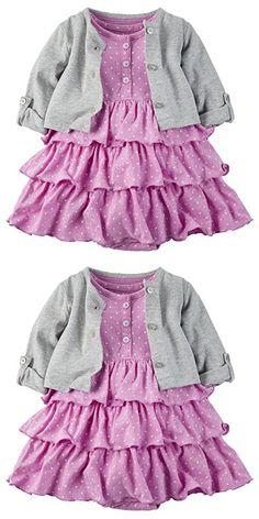 Carter's Baby Girls' 2 Piece Floral Dress Set Grey/Purple Dots-18M