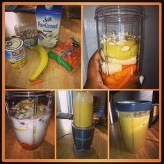 Todays smoothie is hitting! #nutriblast #nutribullet #smoothie #banana #almonds #pineapples #carrots #coconutmilk #aintnobodygottimeforfat #idrinkmybrealfast