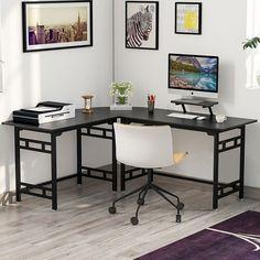 Ebern Designs Cogswell L-Shape Computer Desk Color: Teak Computer Desks For Home, Computer Desk With Hutch, Desk Hutch, Home Desk, Home Office Desks, Home Office Furniture, Gaming Desk, Furniture Ads, Office Table