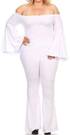 NQ Womens Solid Flare Long Sleeve Bell Bottom Casual Jumpsuits White Small * You can get additional details at the image link-affiliate link. #PalazzoPants