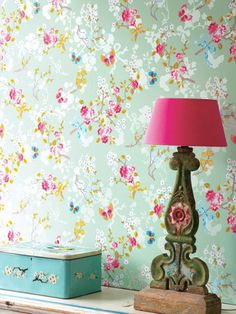 Beautiful Butterflies Wallpaper and Wall Stickers Interior Decor Photo: Sweet Interior Decor with Flower Butterfly Wall Decal