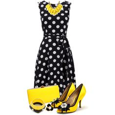 Yellow with Polka Dots by katherine-jones-benbelkheir on Polyvore