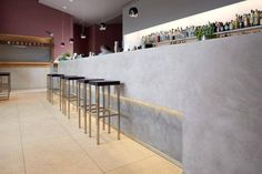 Autostazione Bar-Restaurant by Ideal Work Beton Design, Hotel Interiors, Modern Interiors, Bar Interior, Modern Bar, Lounge, Floor Finishes, Cafe Design, Retail Design