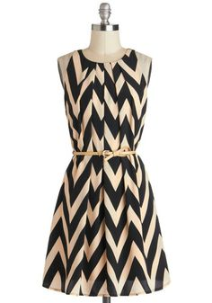 Great Wavelengths Dress - Black, Chevron, Belted, Casual, A-line, Sleeveless, Crew, Tan / Cream, Work