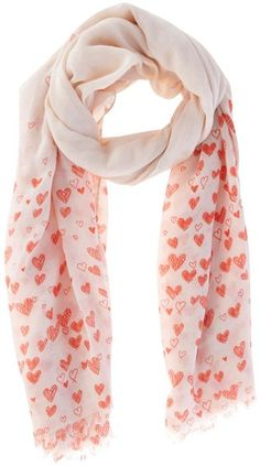 Oasis Red Heart Print Scarf