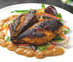 Soy glazed butterfly chicken with satay sauce.   peanut butter dip! slimming world friendly #lowcal #lowfat #healthy