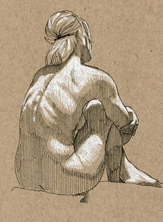 Seated female posterior behind back drawing