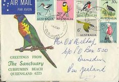 Stamps Australia 1966 bird issues on parrot 1968 airmail cover sent New Zealand