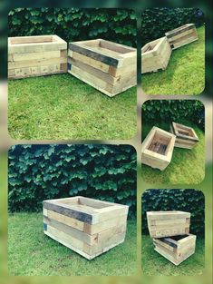 Made from chunky 3x3 reclaimed pallets, they are able to be ordered through the link Wooden Planters, Milling, Pallets, Stepping Stones, Woodworking, Link, Outdoor Decor, Wood Planters, Stair Risers
