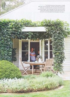 Farmhouse patio doors - Ali's gorgeous home (and my art!) in Australian Home Beautiful – Farmhouse patio doors Farmhouse Patio Doors, Farmhouse Garden, Outdoor Spaces, Outdoor Living, Weatherboard House, Queenslander, Australian Homes, French Country Style, European Style