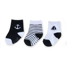 Carter's® 3-Pack Nautical Computer Socks in Black/White - buybuyBaby.com
