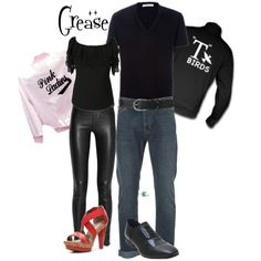My creation inspired by Sandy Olsson and Danny Zuko played by Olivia Newton-John and John Travolta in the 1978 musical. Group Costumes, Cool Costumes, Costumes For Women, Woman Costumes, Costume Ideas, Halloween Costumes, Danny Zuko Costume, Pink Lady Costume, Grease Party