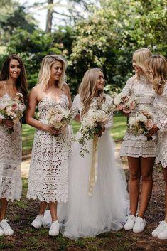 A-Line Spaghetti Straps Tea Length White Lace Bridesmaid Dress Mix Match Bridesmaids, Lace Bridesmaids, Bridesmaid Outfit, Lace Wedding Dress, Wedding Dresses, Lace Dresses, Wedding Bride, Cream Dresses, Wedding App
