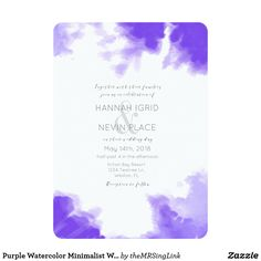 Purple Watercolor Minimalist Wedding Invitation