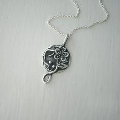 Silver Cherry Blossom Flower Necklace Pendant by ElizabethSMurray