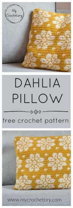 Crochet this modern and stylish square pillow and lighten up your living room. Find the free pattern of Dahlia Pillow on my blog!