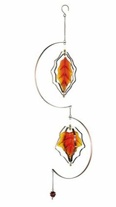"""Harvest Leaves Garden Spinner Decoration By Collections Etc by Natures Touch. $8.97. Hook makes it easy to hang from a tree branch, your homes eaves or a shepherds hook stake. Made of glass, iron and acrylic. 9 3/4""""L x 40""""H.. Save 10%!"""