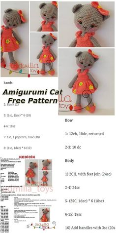 In this article we will share the amigurumi cat free crochet pattern. Amigurumi related to everything you can not find and share with you. Chat Crochet, Crochet Mignon, Crochet Mouse, Crochet Patterns Amigurumi, Crochet Dolls, Free Crochet, Crochet Geek, Crochet Cat Pattern, Plush Pattern