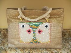 Wonderful beach tote with puffer fish appliqued