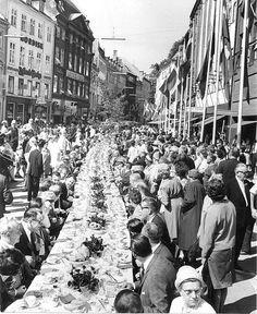 Københavns 800 års jubilæum. Kaffebord på Strøget 1967.06.16