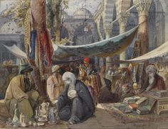 Market in the Courtyard of the Mosque of Sultan Beyazid-Preziosi-1891