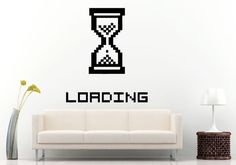 Sand Clock Old Ancient Clock Loading Square Like Sign Computer Geek PC Wall Decal Vinyl Sticker Mural Room Decor L989